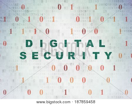 Protection concept: Painted green text Digital Security on Digital Data Paper background with Binary Code