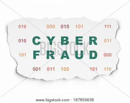 Safety concept: Painted green text Cyber Fraud on Torn Paper background with  Binary Code