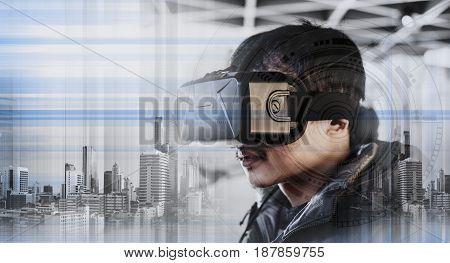 a guy wearing virtual reality googles, futuristic realistic technology innovation concept