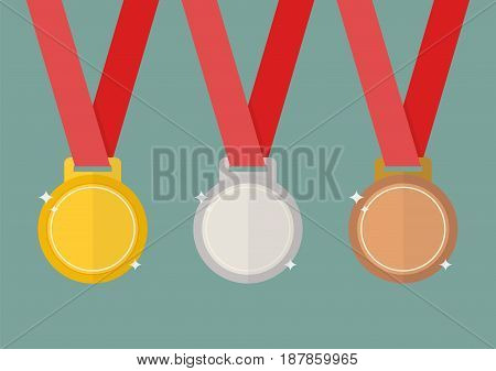 Gold silver and bronze award medals. Flat style vector illustration