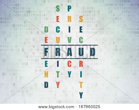 Security concept: Painted blue word Fraud in solving Crossword Puzzle on Digital Data Paper background
