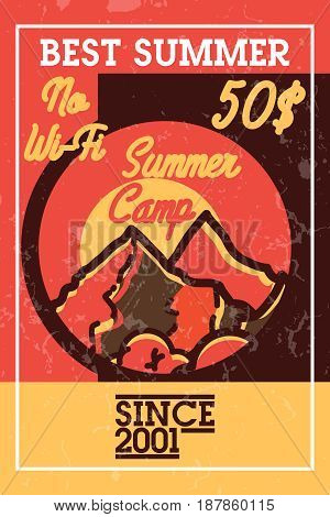 Color vintage summer camp banner. Life is better in summer camp. Trendy typography.
