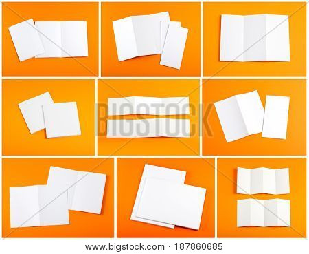 Identity design corporate templates company style set of booklets blank white folding paper flyer on orange background