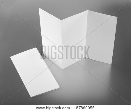 Identity design corporate templates company style set of booklets blank white folding paper flyer on silver background