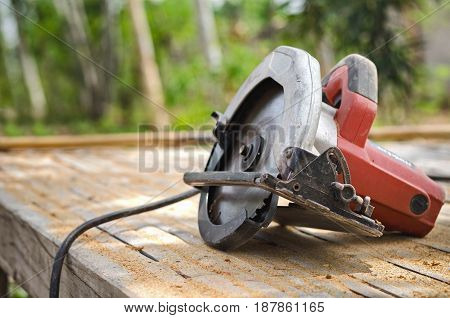 circular saw isolated on table carpentry workshop