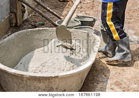 Cement or mortar by worker cement mixer