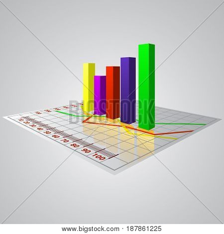 Abstract 3D vector business diagram with reflection of money.