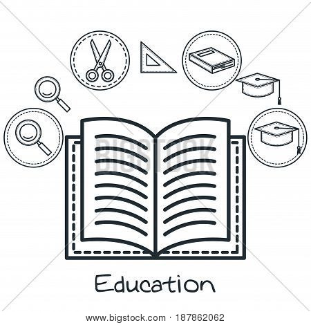 Hand drawn education related object stickers over white background. Vector illustration.