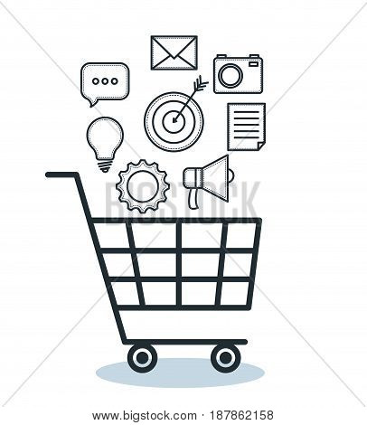 Hand drawn shopping cart and objects over white background. Vector illustration.