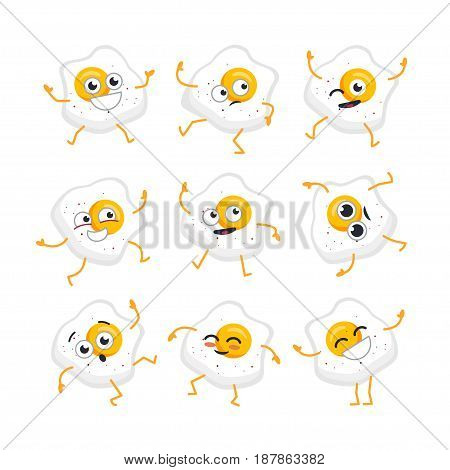 Egg Cartoon Character - modern vector template set of mascot illustrations. Gift images of egg, dancing, smiling, having a good time. Emoticon, emotions giggle, surprise, blinking