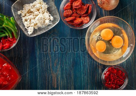 Ingredients For Preparing Frittata - Eggs, Sausage Chorizo, Red