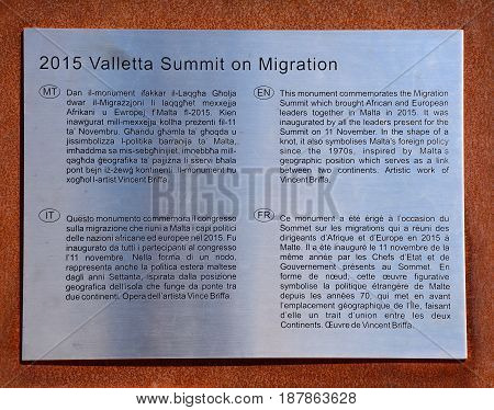 VALLETTA, MALTA - MARCH 30, 2017 - Valletta Summit on Migration 2015 plaque in Castille Square Valletta Malta Europe, March 30, 2017.