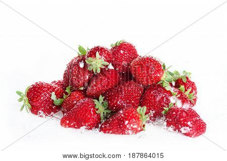 Close Up Of Heap Of Fresh Clean Strawberries Isolated On White, Fresh Fruits Background