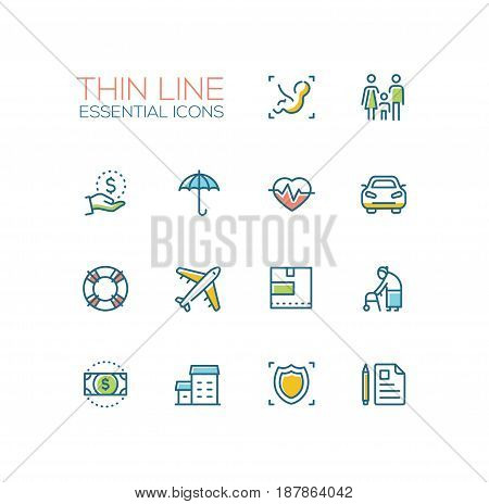 Insurance - modern vector single thin line icons set. Baby, embryo, family, dollar, hand, umbrella, pulse, car, life preserver, plane, box, senior person, bill, house, shield, note, pen