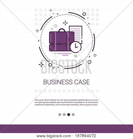 Case With Document Contract Business Web Banner With Copy Space Vector Illustration