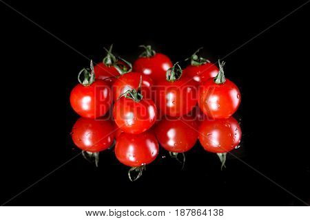 Close-up View Of Fresh Ripe Tomatoes With Water Drops Isolated On Black, Harvest Vegetables Concept