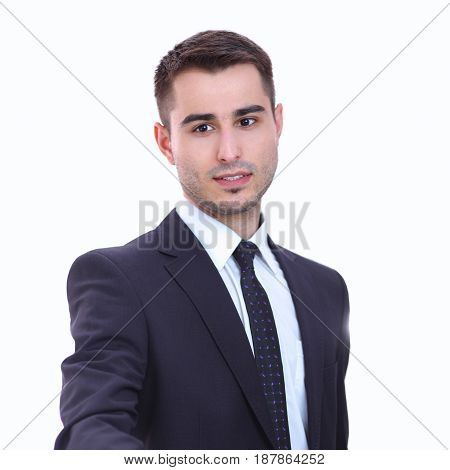 Portrait of businessman giving hand for handshake .