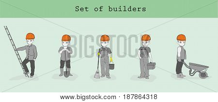 set builders men in various poses. Hand drawn cartoon vector illustration for building or business design and infographics.