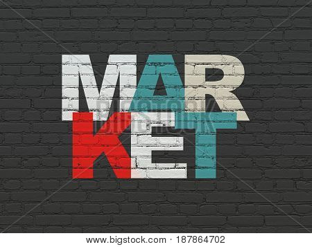 Advertising concept: Painted multicolor text Market on Black Brick wall background