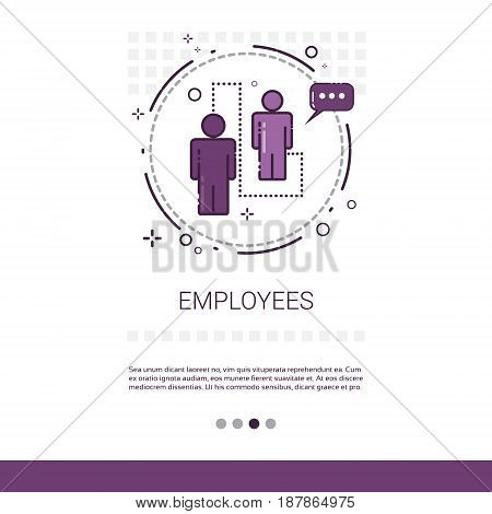 Employees Business Workers Team Web Banner With Copy Space Vector Illustration