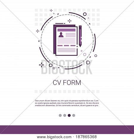 CV Form Resume Candidate Vacancy Search Web Banner With Copy Space Vector Illustration