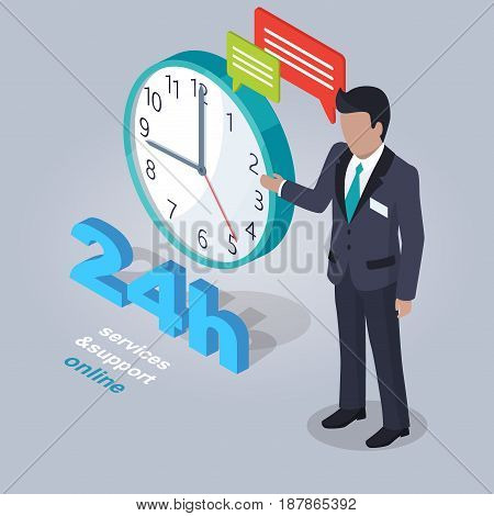 24 Hours Service and Support Online. Internet assistant near clock isolated on grey background with sign and chat clouds. E-commerce advertising vector illustration. Help in online shopping any time.