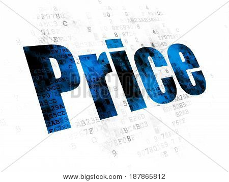 Marketing concept: Pixelated blue text Price on Digital background
