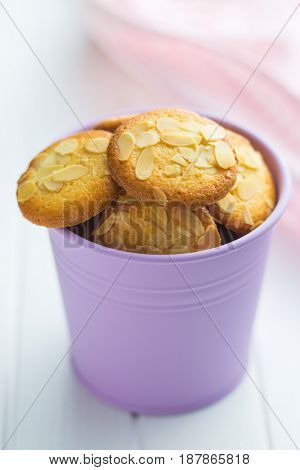 Sweet almond cookies in cup.