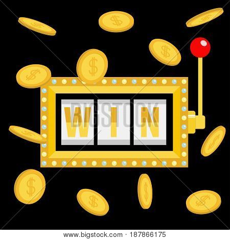 Win text. Slot machine. Golden flying money coin rain. Glowing lamp light. Red handle lever. Online casino gambling club sign symbol. Flat design. Black background. Isolated. Vector illustration
