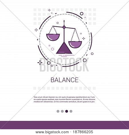 Balance Scale Economic Business Web Banner With Copy Space Vector Illustration