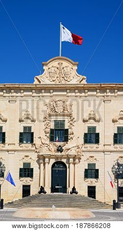 View of the Auberge de Castille in Castille Square Valletta Malta Europe.