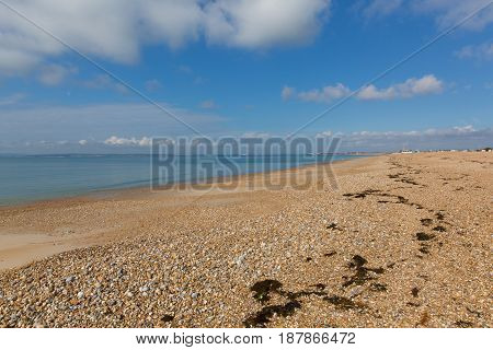 Hayling Island shingle beach near Portsmouth south coast of Hampshire England UK