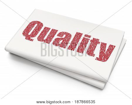Marketing concept: Pixelated red text Quality on Blank Newspaper background, 3D rendering