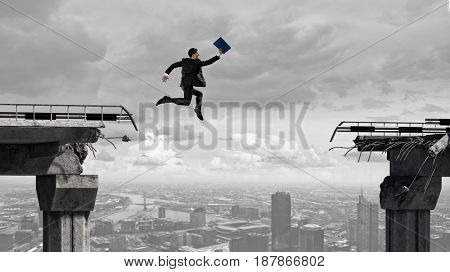 Business concept of businessman overcome the problems