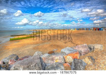 Hayling Island beach near Portsmouth south coast of Hampshire England UK in hdr