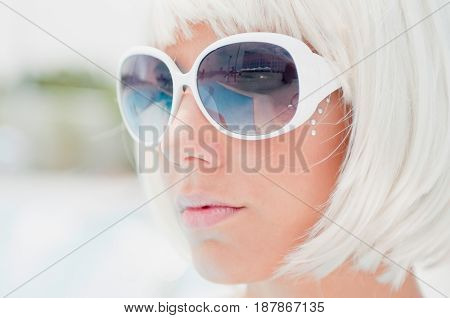 Girl With White Sunglasses , Close Up View, Color Image, Toned Image