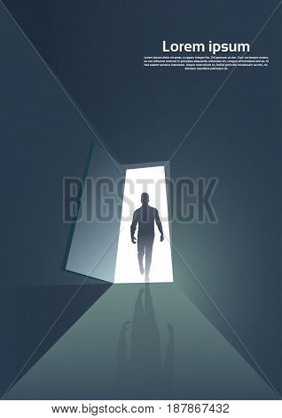 Business Man Silhouette Standing at Door Entrance New Opportunity Concept Vector Illustration