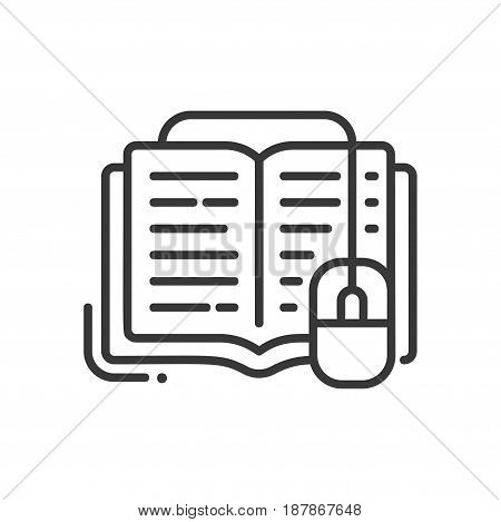 Online education - modern vector single line icon. An image of a book with a computer mouse going out of it. Representation of knowledge, technology, understanding, reading, editing.