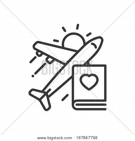 Travel - modern vector single line icon. An image of a flying plane, book, shining sun and heart shaped figure. Representation of going for a journey, vacation, trip. Be safe.