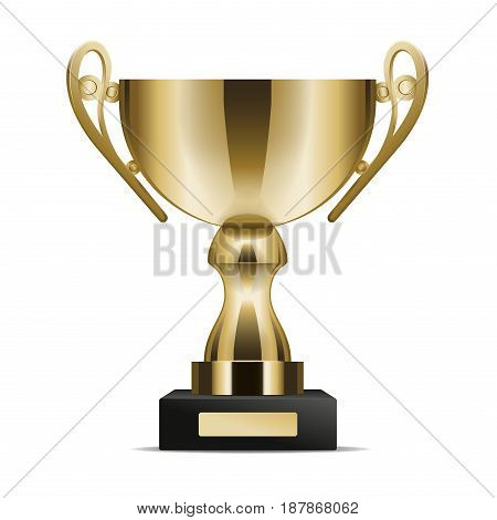 Golden shiny trophy cup for win in competition isolated on white background. Tournament first place prise vector illustration. Standard design of metal goblet. Award for outstanding achievement.