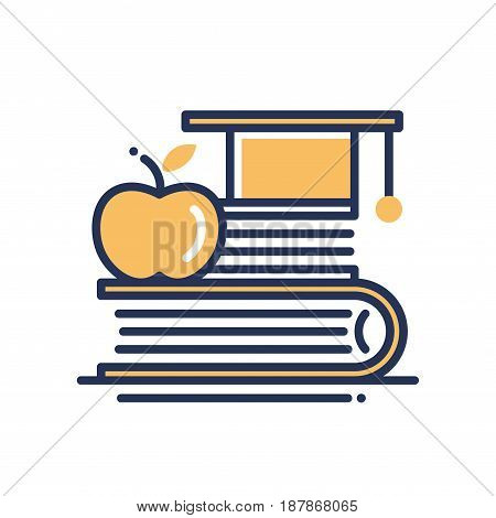 Education - modern vector single line icon. An image of a thick book, a golden apple and a graduation head wear. Represents knowledge, result, success, power, brain,