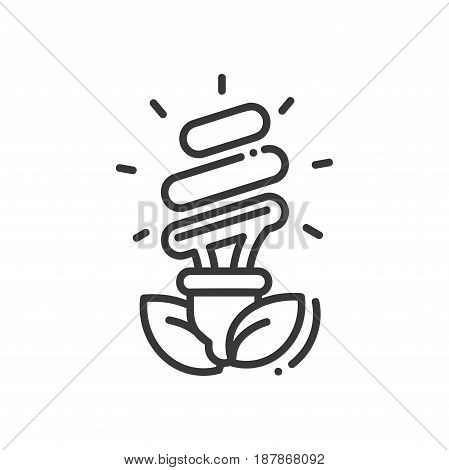 Bulb- modern vector single line icon. An image of an electric eco light with some grass. Represents green technology, prosperity, future, ecology, electricity, idea