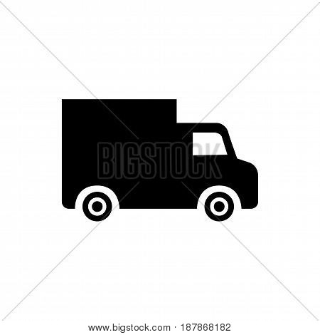 Black truck icon isolated on white background