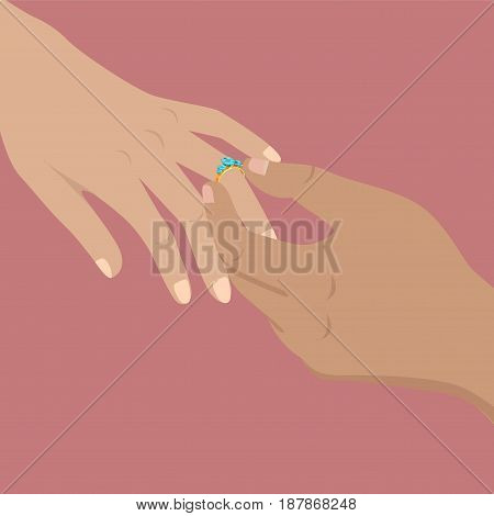 Proposal agreement touching moment vector illustration. Man hand puts beautiful engagement ring on womans hand isolated on pink background. Banner with isolated hands making proposal