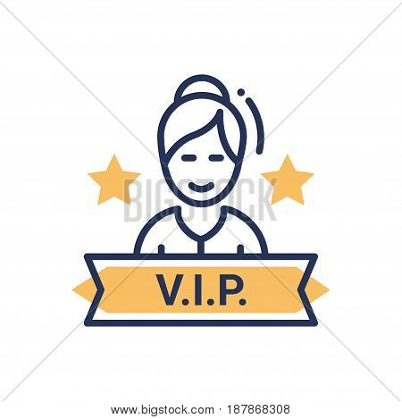 VIP person - modern vector single line icon. An image of a very important person person with a sign and stars. Representation of importance, royalty, face control, significance, status