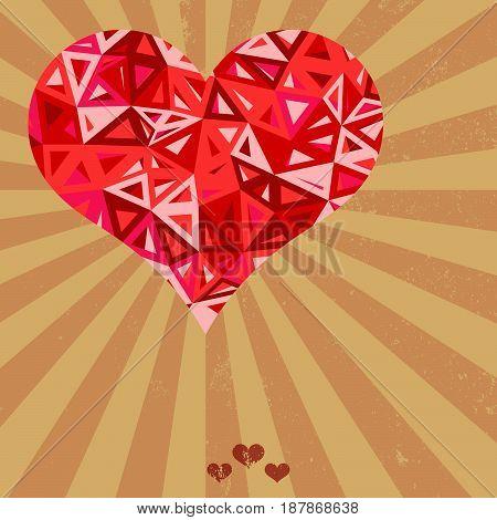 Vector futuristic geometric heart on grunge background.