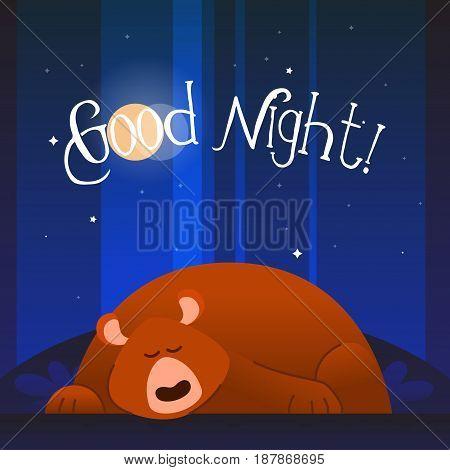 Bear - modern vector phrase flat illustration. Cartoon animal character. Gift image of bear sleeping wishing good night.
