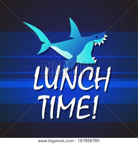 Shark - modern vector phrase flat illustration. Cartoon animal character. Gift image of shark swimming saying lunch time in the deep sea.