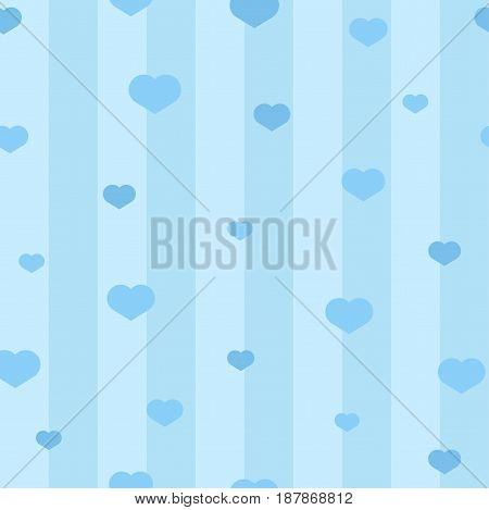 Seamless blue hearts on lines pattern. Background with hearts