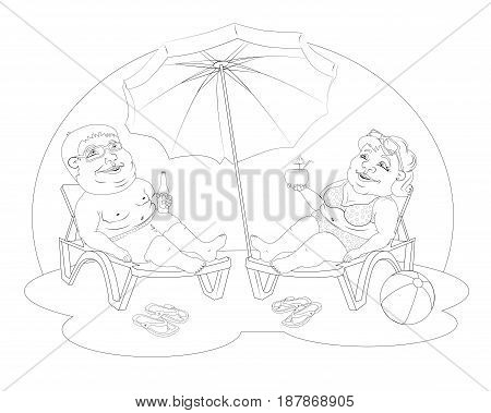 fat man and woman in beach suits are on selmah under the sun umbrella. Them sunglasses, they drink cocktails. Black and white image for coloring